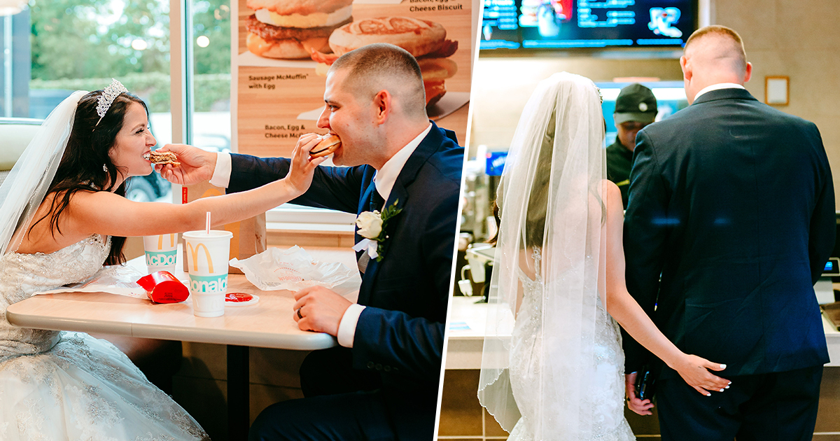 Bride and groom have first meal as married couple in McDonald's