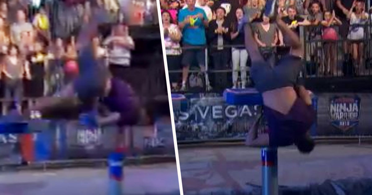Gymnast makes incredible save on Ninja Warrior