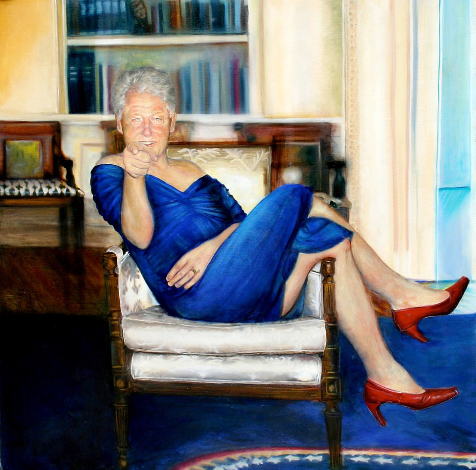painting of bill clinton in blue dress and red heels