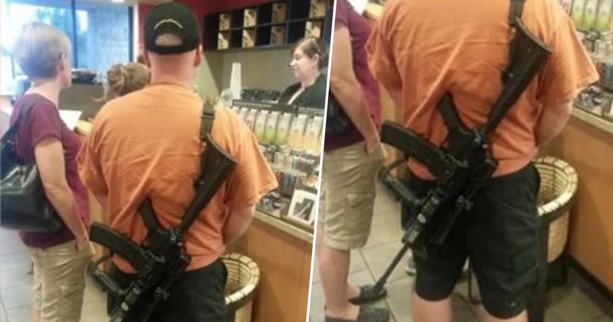 man in starbucks with assault rifle