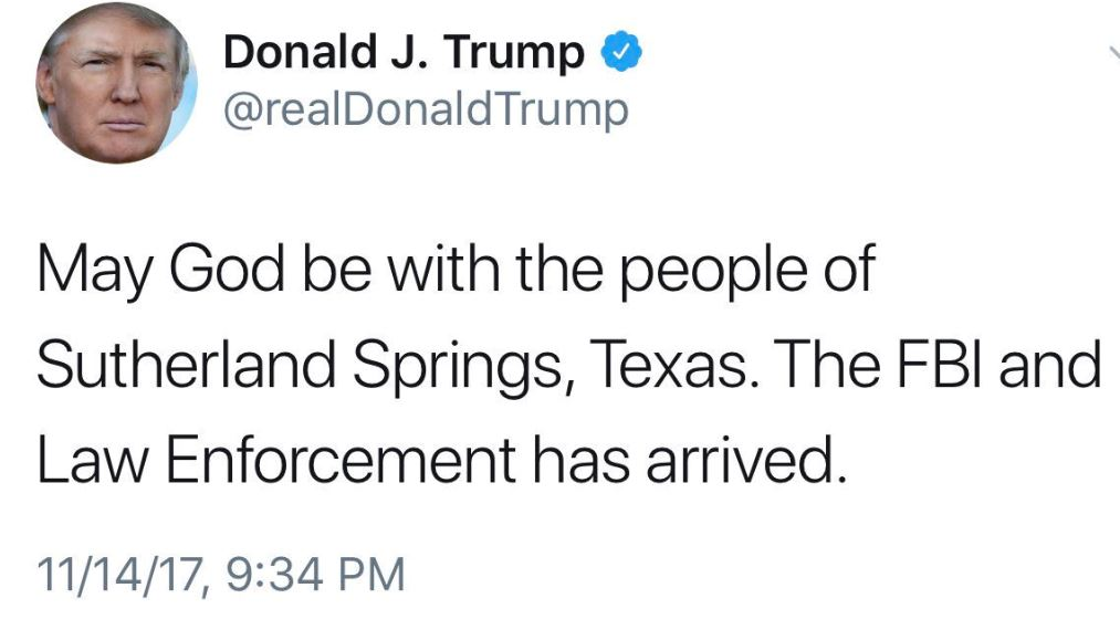 Donald Trump response to Sutherland Springs shooting