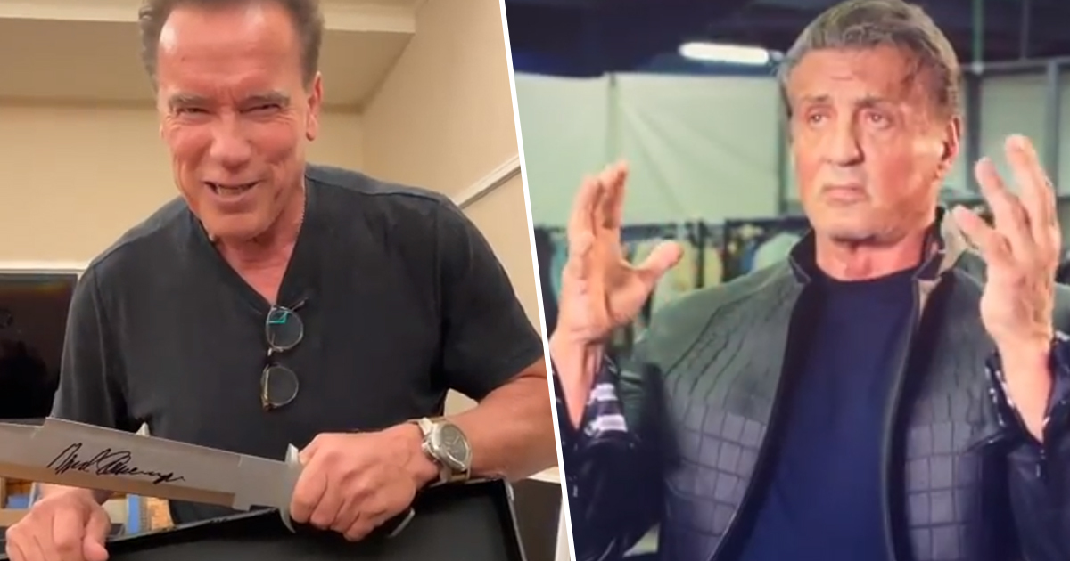 Arnold Schwarzenegger Trolls Sylvester Stallone About 'The Size Of His Knife'