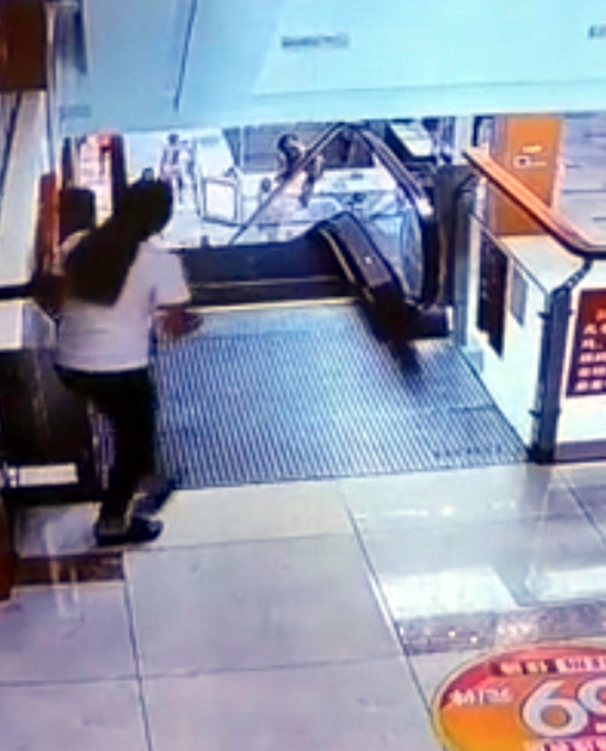 Toddler saved from escalator