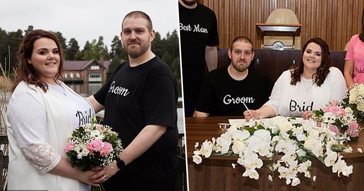 Couple Get Married In Bride And Groom T-Shirts To Show Weddings Don't Have To Be Expensive