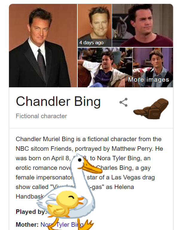 Chandler Bing Google Friends Easter Egg