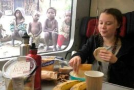 Greta thunberg eating lunch fake picture