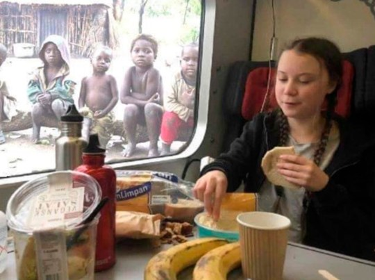 Greta-thunberg-eating-lunch-fake-picture
