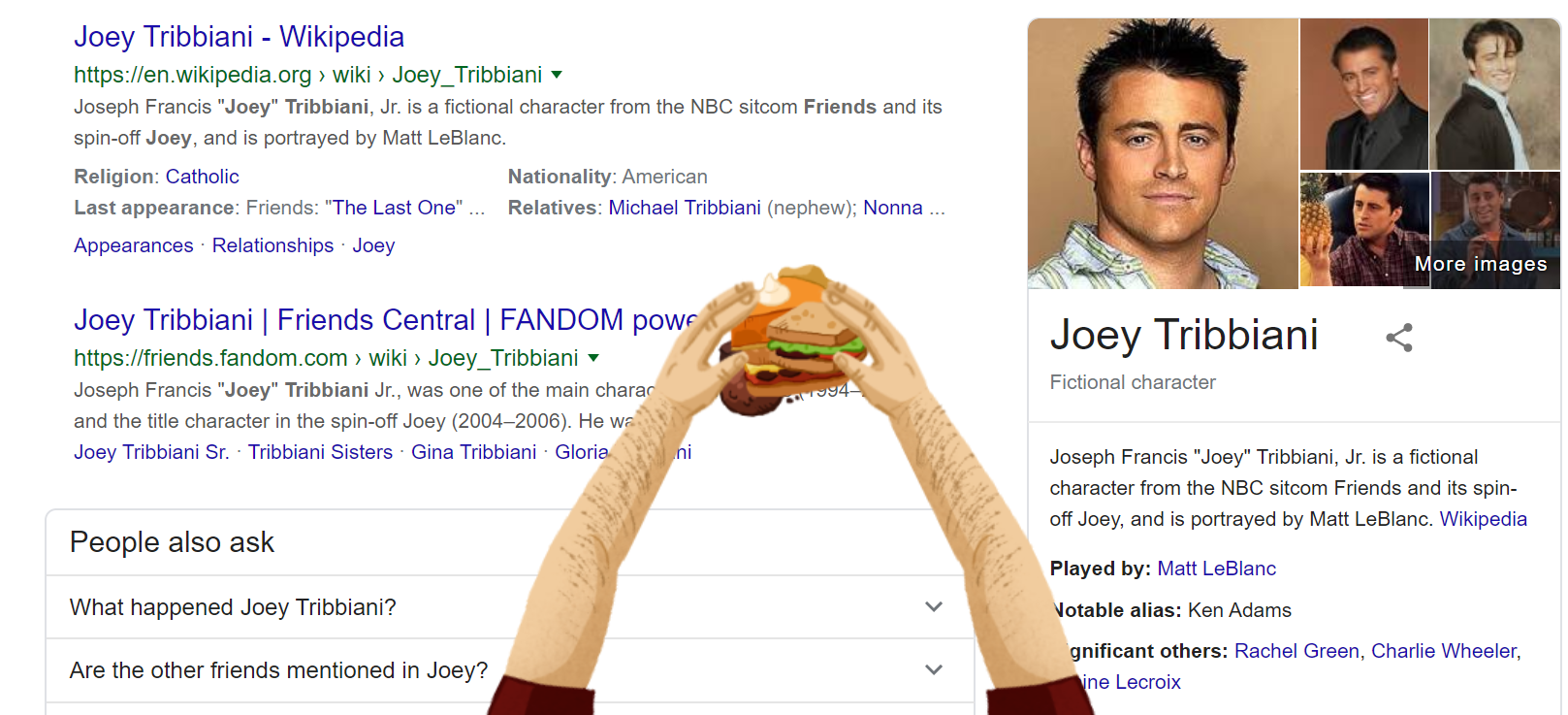Joey Tribbiani Google Friends Easter Egg