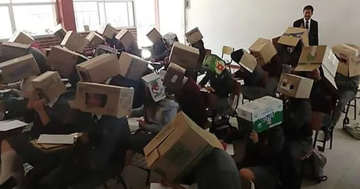 Teacher Boxes Students