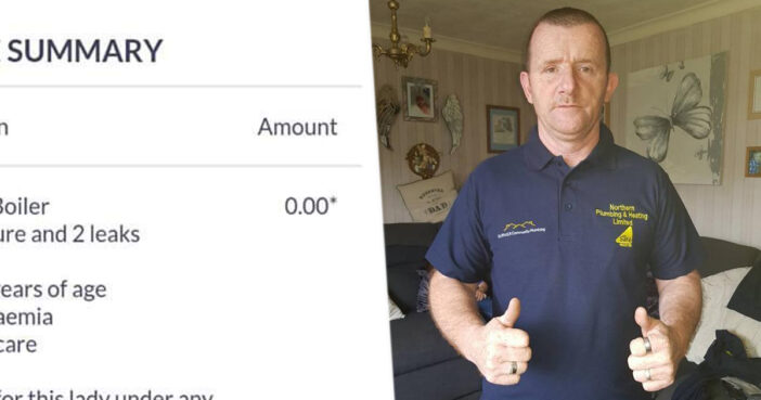 Plumber's Invoice To Leukaemia Sufferer In End Of Life Care Totals £0