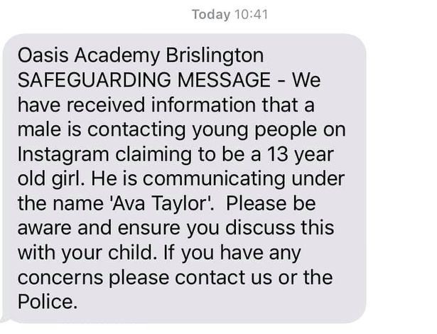 Kids Warned To Block Girl Called Ava Taylor Contacting Them Via DM