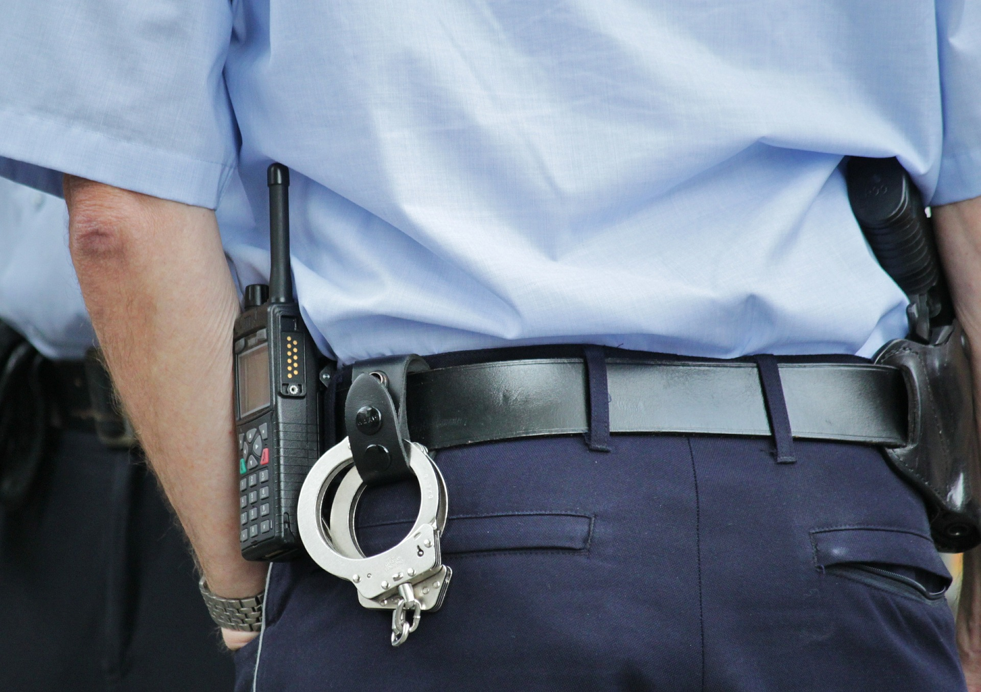 Handcuffs police officer