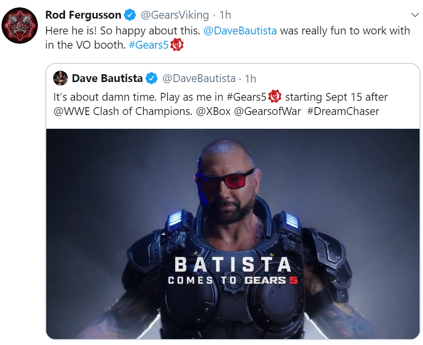 Dave Bautista Is Officially Coming to Gears 5