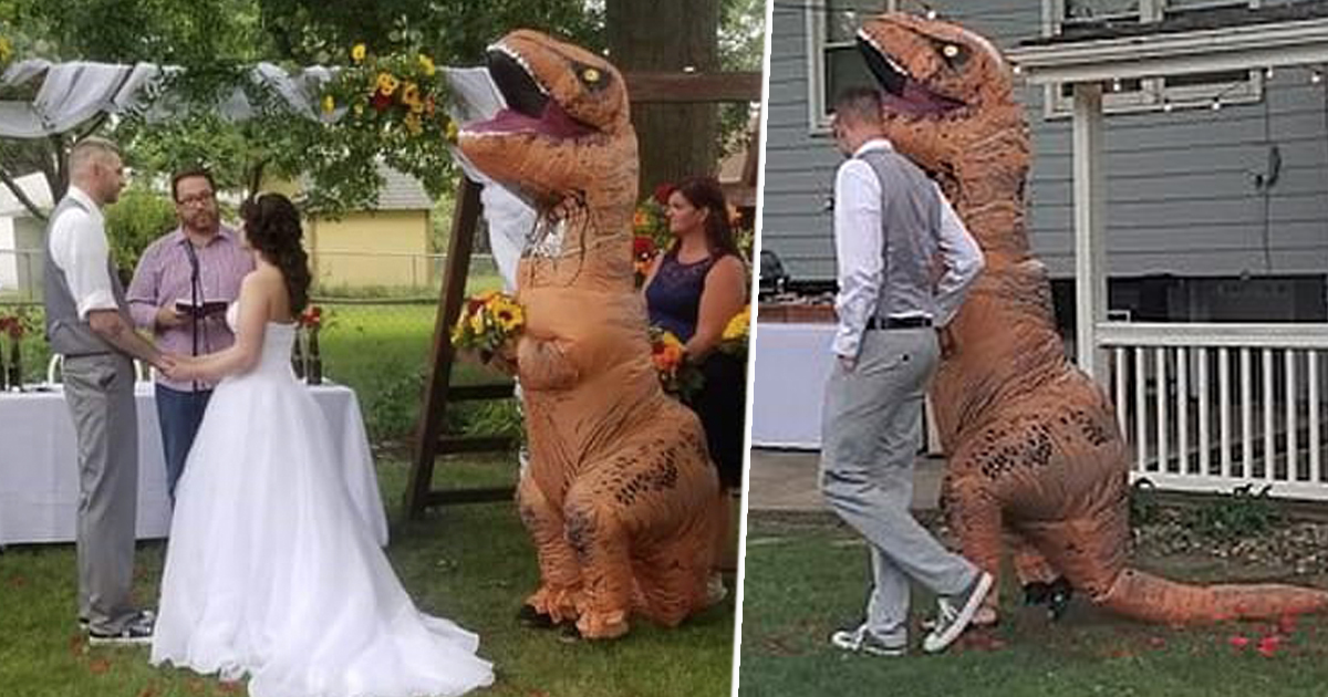 Maid Of Honour Turns Up To Sister's Wedding Dressed As T-Rex