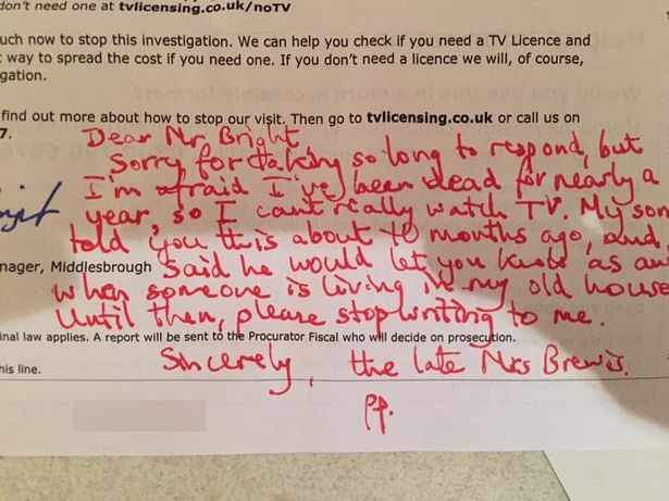 Man responds to TV Licensing as dead mum after they continue to send threatening letters