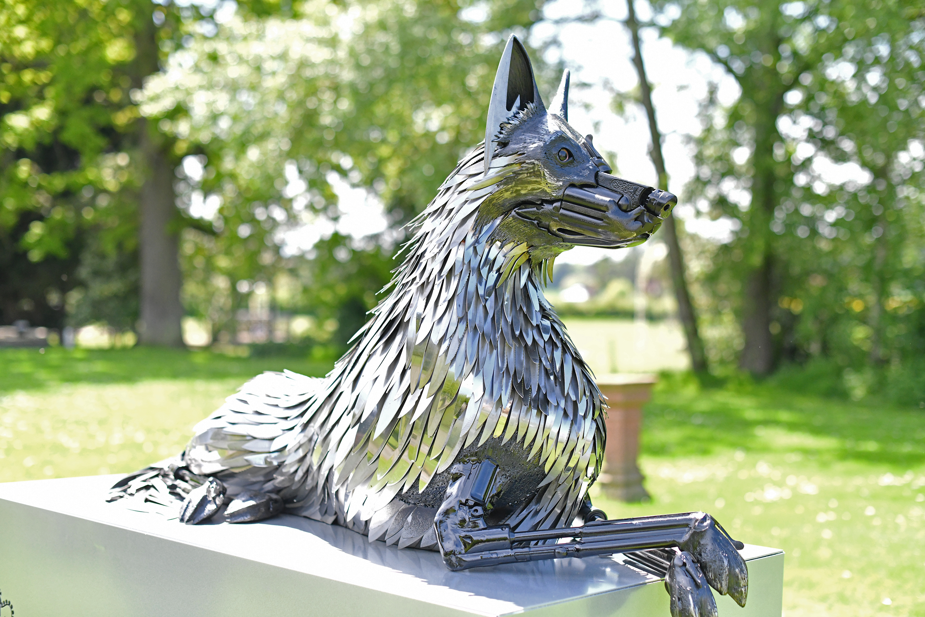 Dog Sculpture made of knives