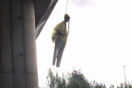 Greta Thunberg hanging by noose effigy