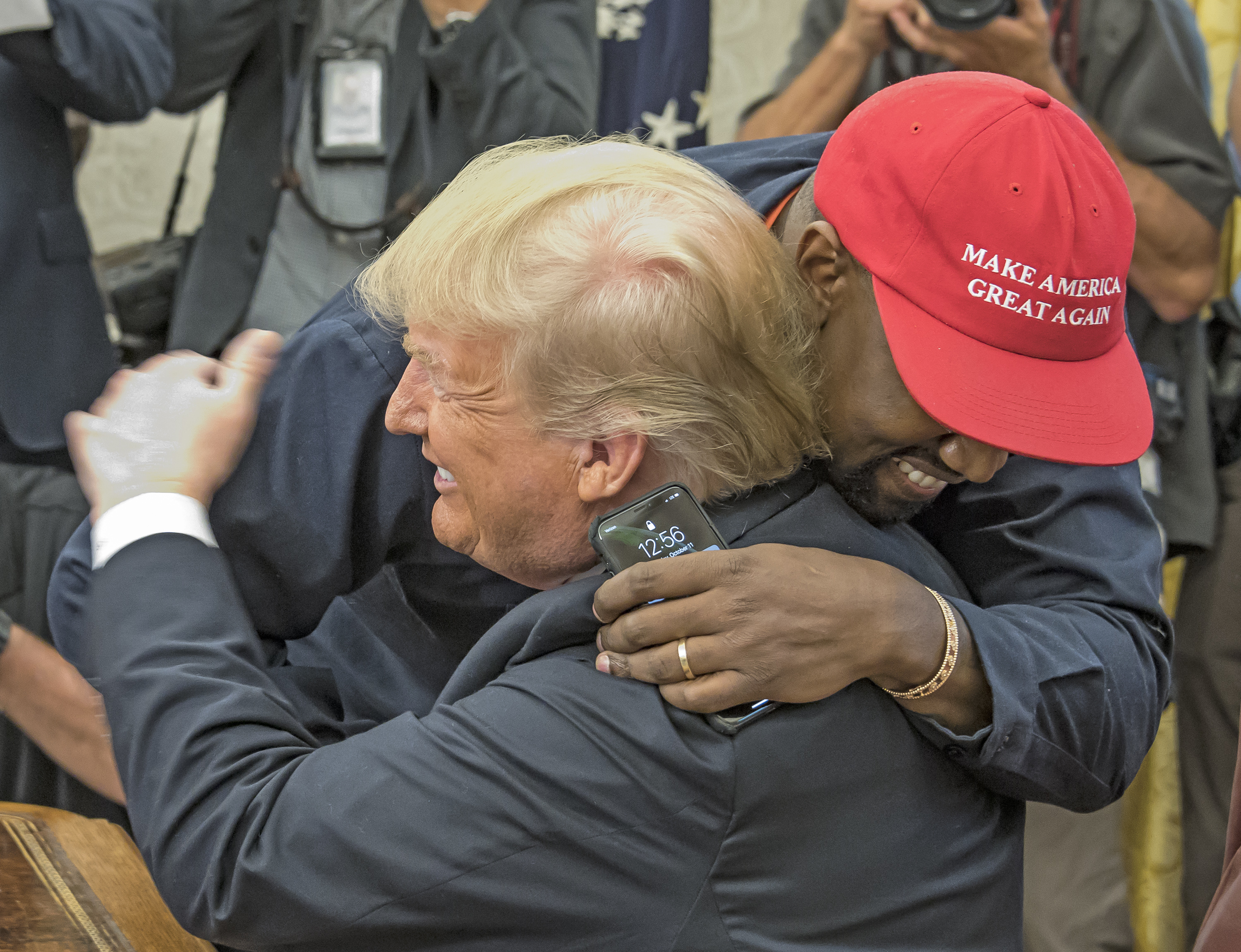 Kanye West hugs Donald Trump