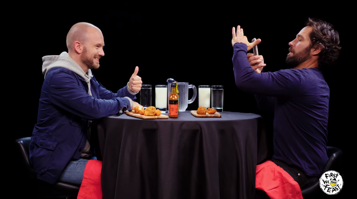 Paul Rudd Phone Trick On Hot Ones 2