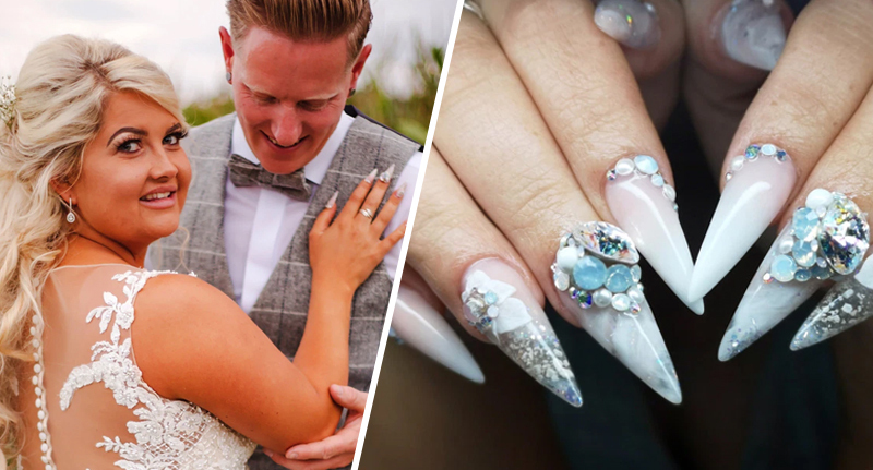 Bride had father's ashes attached to nails for wedding day
