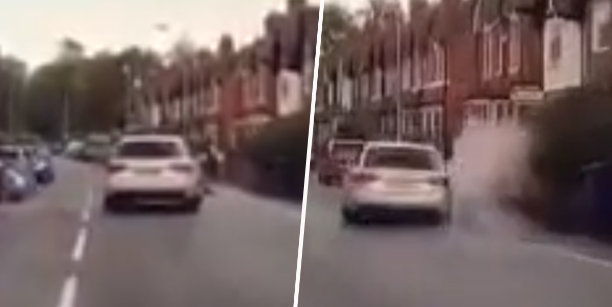 Audi Driver Swerves Towards Puddle To Splash Woman On Pavement