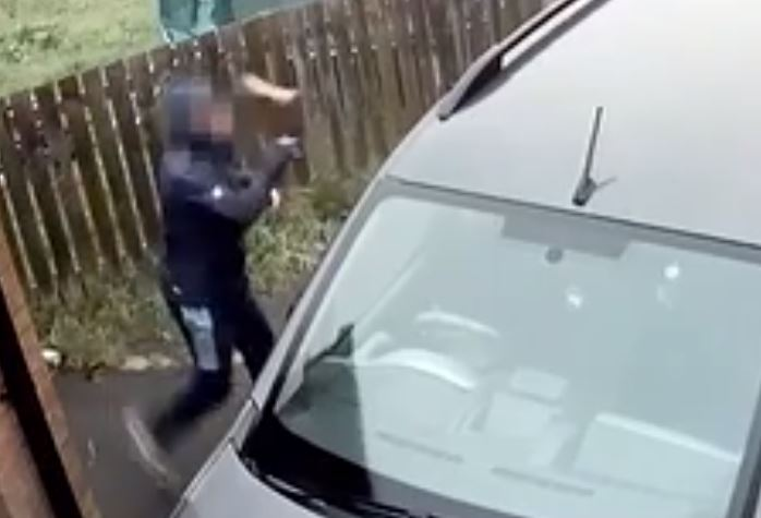Guy throws brick at car but it hits him in the face