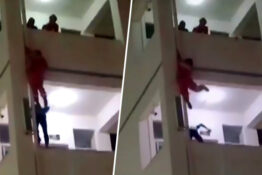 Firefighter Kicks Boy Threatening To Jump Off Balcony To Safety