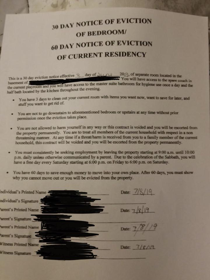 Parents Issue 18-Year-Old Son With 'Heartbreaking' Eviction Notice