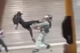 Hong Kong protester hits police officer with flying kick