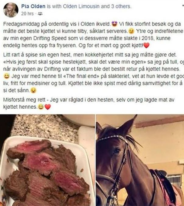 Teen receives death threats after admitting she ate her horse after it died