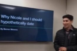 Guy gives powerpoint to girl he wants to date