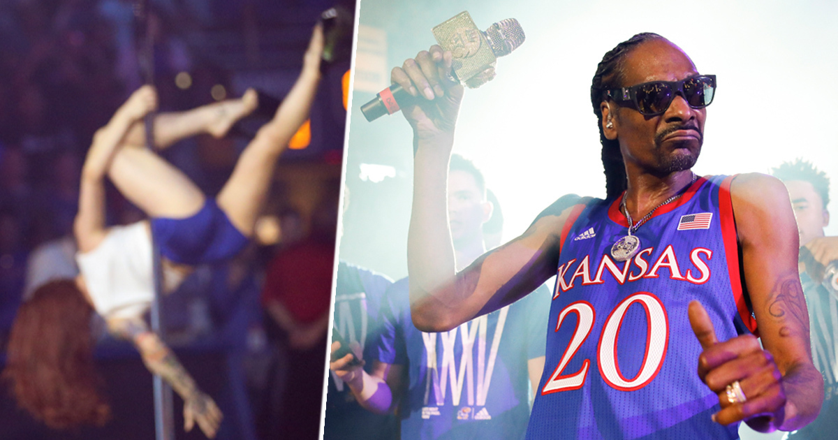 Snoop Dogg Performs At University With Pole Dancers And Money Gun