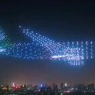 Amazing 'Ghost Plane' Created By 800 Drones At Air Show