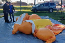 Deflated baby Trump balloon