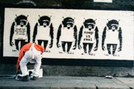 Photos of Banksy at work released