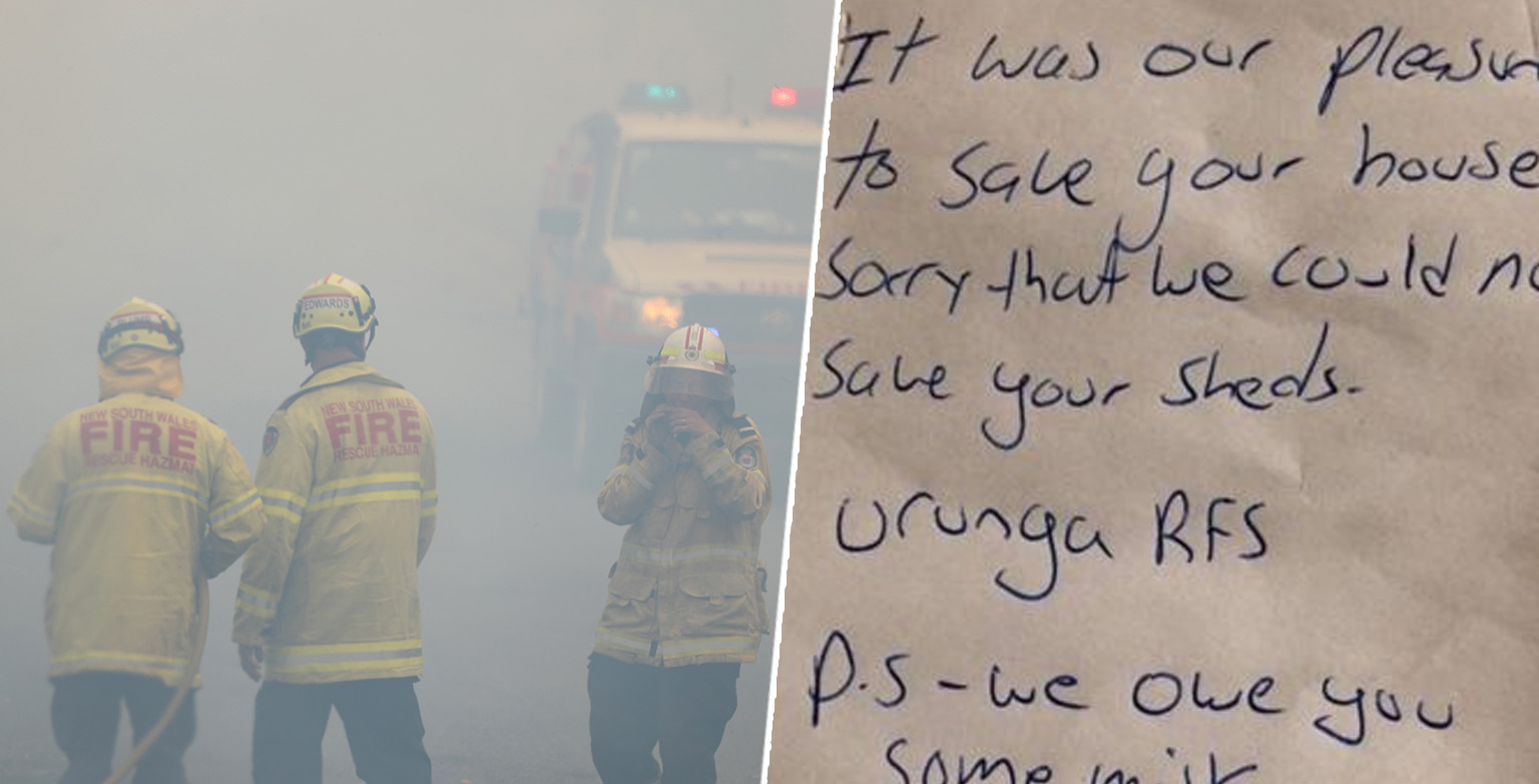 Firefighters Who Saved House From Bushfire Leave Milk Apology Note
