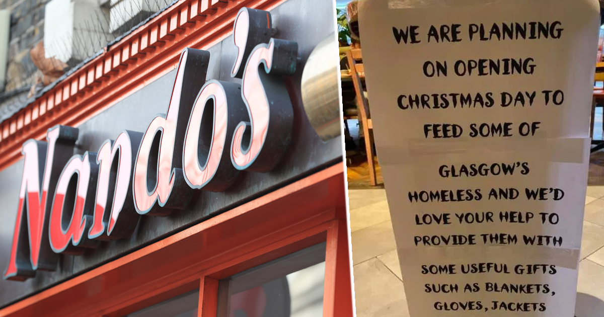 Glasgow Nando's Opening On Christmas Day To Feed Homeless