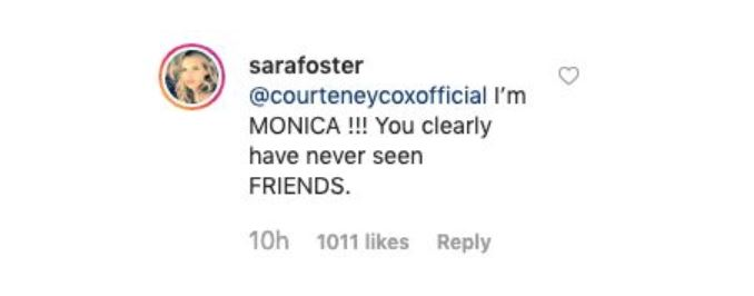 Sara Foster responds to Courteney Cox on Instagram