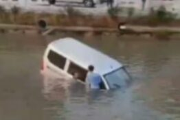 Dad and son stood in water after learner driver crashes car into river