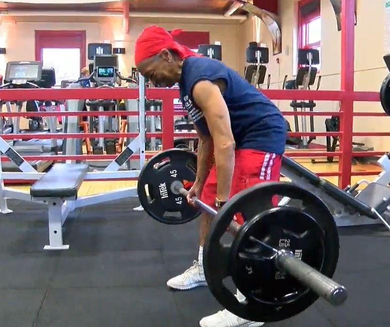 Bodybuilding grandmother pictured lifting weights