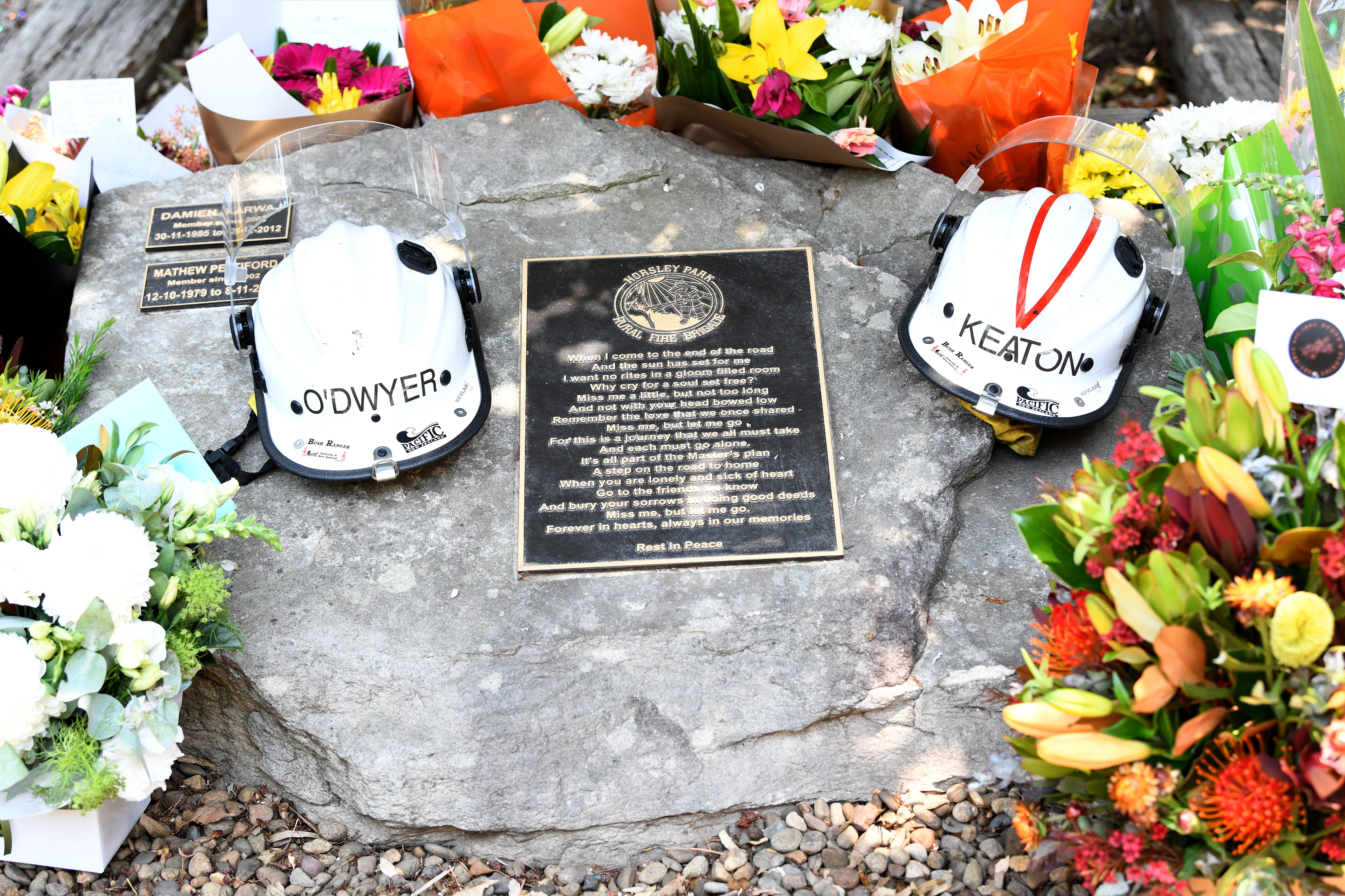 Memorial for two volunteer firefighters who died in Australia