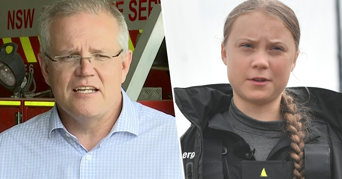 Australia PM Scott Morrison and Greta Thunberg