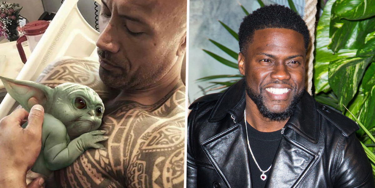 The Rock Trolls Kevin Hart With Hilarious Baby Yoda Meme