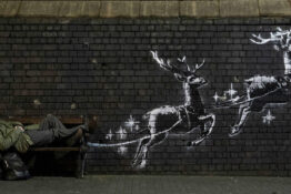Banksy unveils new mural highlighting homelessness