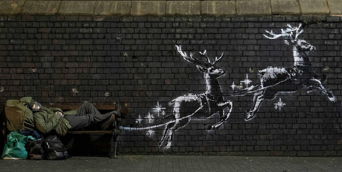 Banksy Highlights Homelessness With Christmas Mural In Birmingham