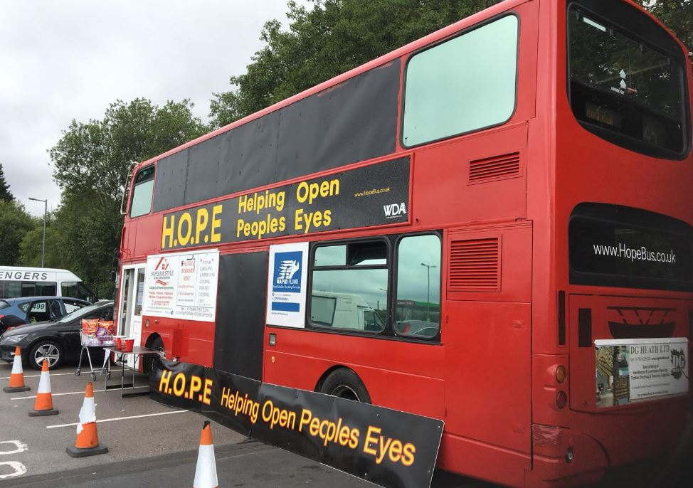 Double decker bus converted into homeless shelter