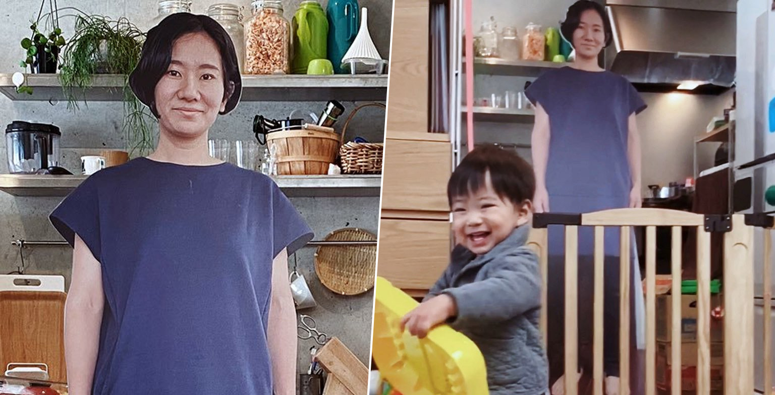 Mum Makes Different Life-Size Cardboard Cutouts Of Herself To Stop Baby Crying