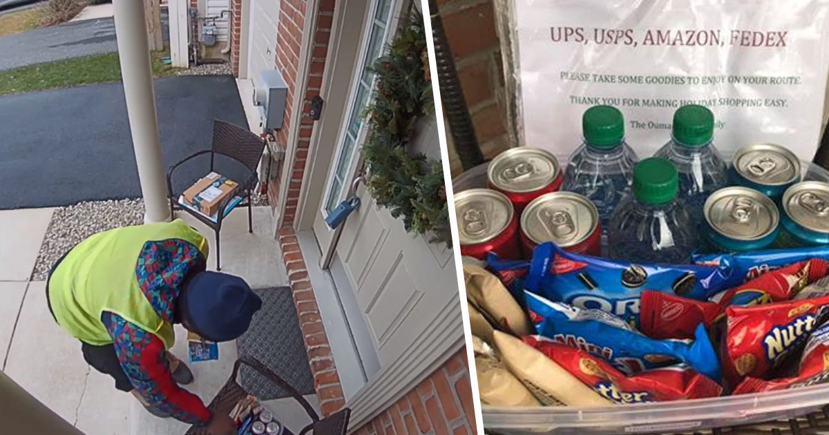 Amazon delivery driver has incredible reaction to finding snacks outside house