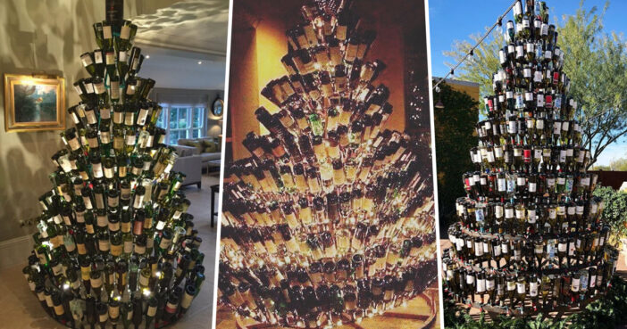 People Are Using Their Empty Wine Bottles To Make Christmas Trees