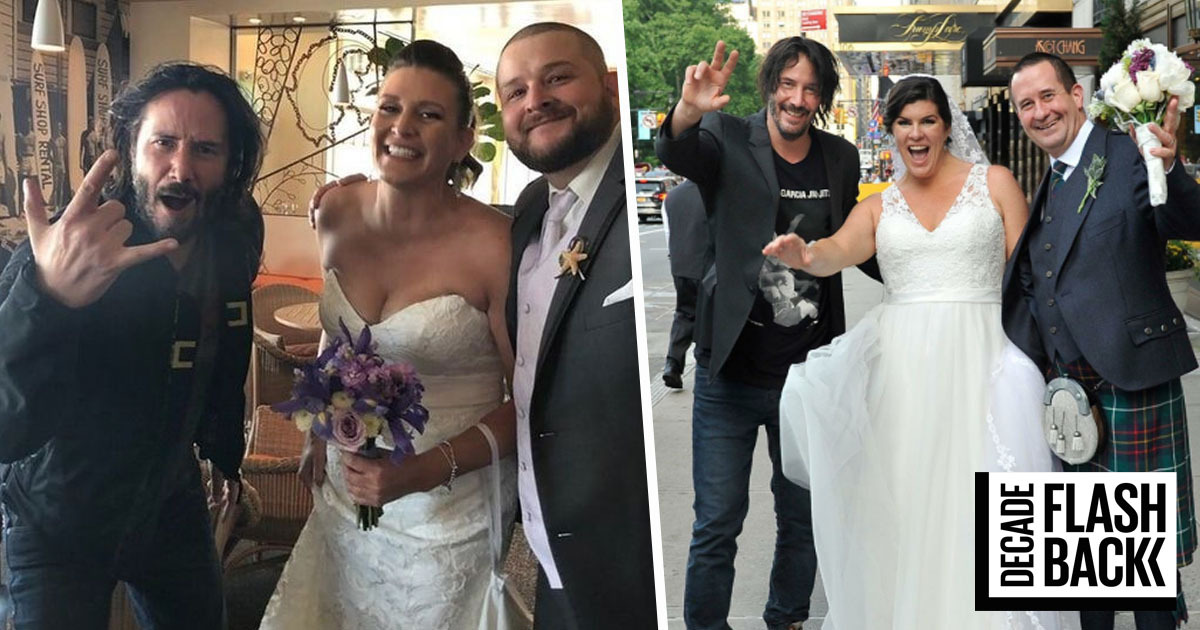 Keanu Reeves Has Been Casually Crashing Wedding Photos For Ages